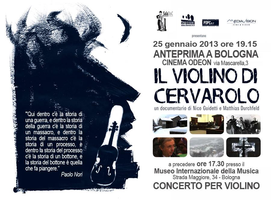 Il Violino di Cervarolo - Anteprima a Bologna 25-1-2013 - Cinema Odeon